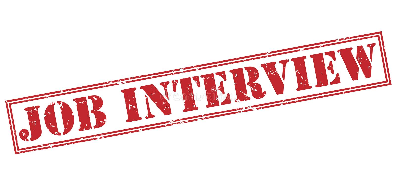 Timbre rouge d'entrevue d'emploi illustration stock