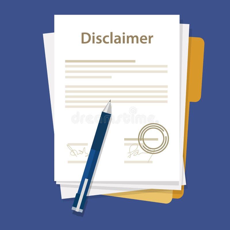 Timbre signé par accord juridique de papier de document de clause de non-responsabilité illustration de vecteur