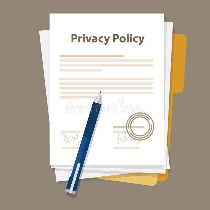 Timbre signé par accord juridique de papier de document de politique de confidentialité illustration de vecteur