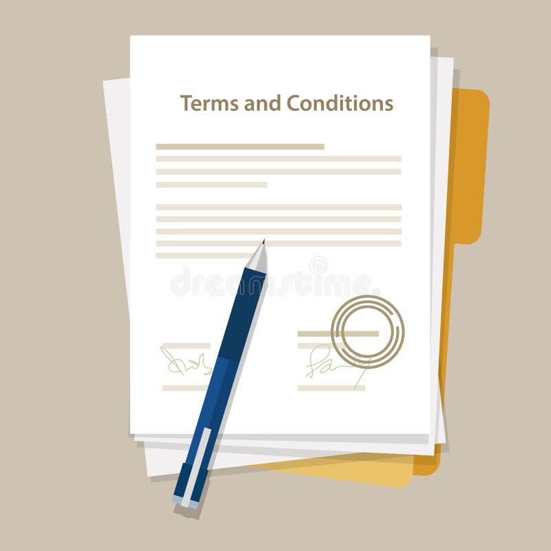 Timbre signé par accord juridique de papier de document de termes et conditions générales illustration libre de droits
