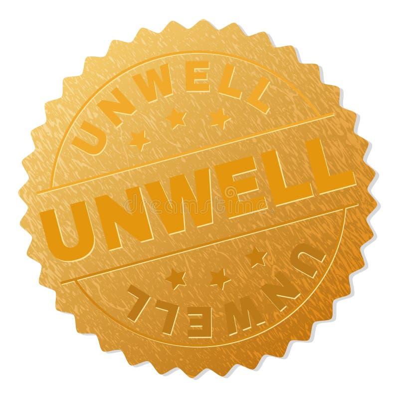 Timbre SOUFFRANT de médaille d'or illustration de vecteur