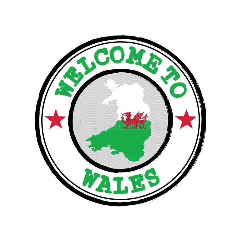 Timbre vectoriel de bienvenue au Pays de Galles avec plan de la nation au centre illustration de vecteur