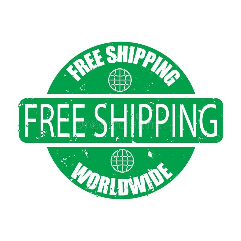 Timbre vert en caoutchouc mondial de expédition libre d'isolement sur le fond blanc illustration libre de droits