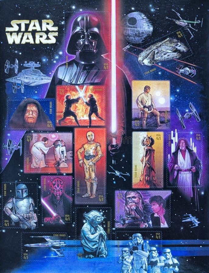 2007 timbres commémoratifs de Star Wars des USA photo stock