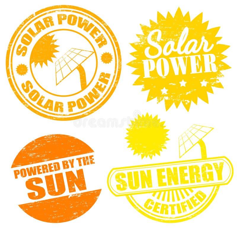 Timbres d'énergie d'énergie solaire illustration de vecteur