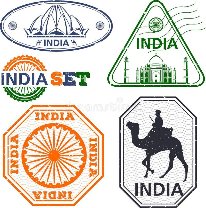Timbres d'Inde réglés illustration de vecteur