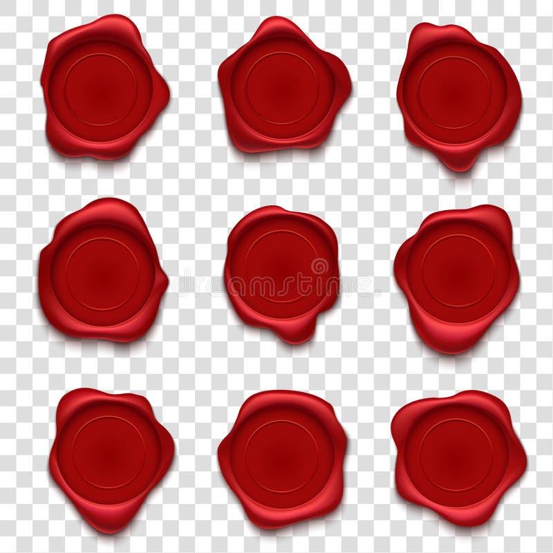 Timbres de cire Le rétro timbre-poste, le cachet rouge de cachet de la poste d'enveloppe et le vecteur postal de joint de paraffi illustration de vecteur