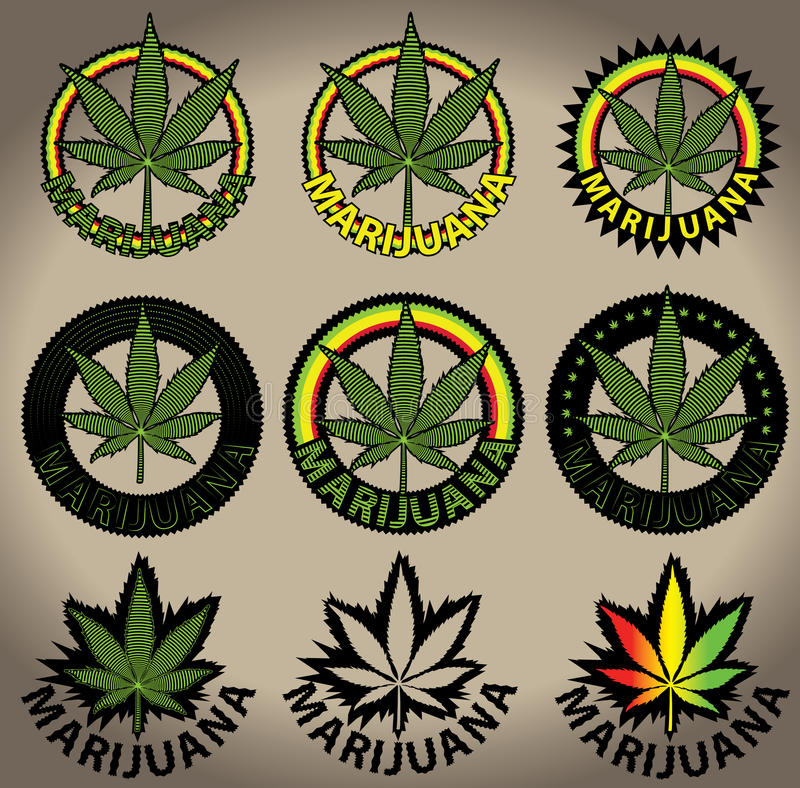 Download Timbres De Feuille De Cannabis De Ganja De Marijuana Illustration Stock - Illustration du penchant, bonheur: 45372201