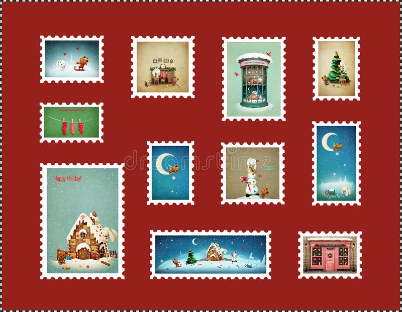 Timbres de Noël illustration libre de droits