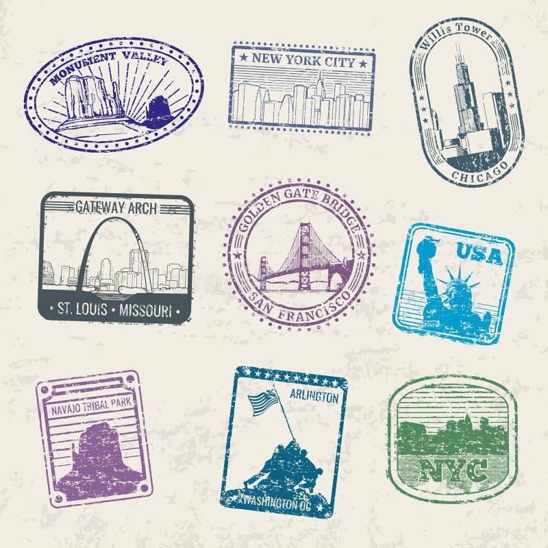 Timbres de voyage de courrier avec des symboles de ville des Etats-Unis illustration libre de droits