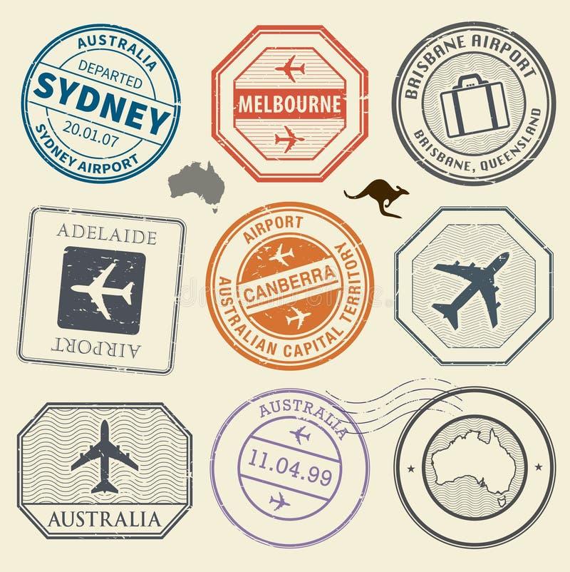 Timbres de voyage ou thème d'aéroport d'Australie d'ensemble de symboles d'aventure illustration libre de droits