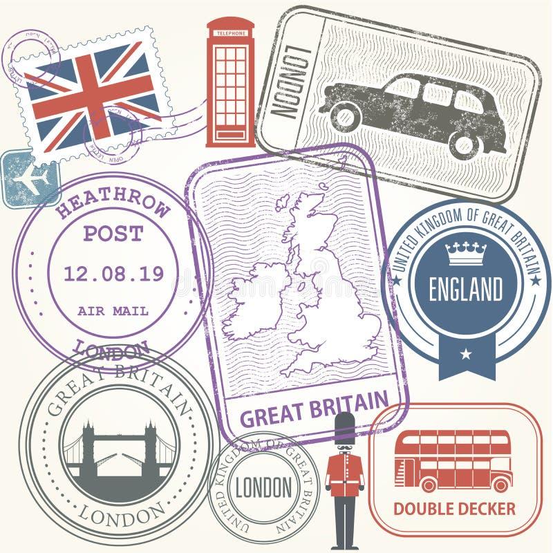Timbres de voyage réglés - la Grande-Bretagne et l'Angleterre illustration stock
