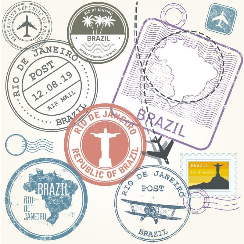 Timbres de voyage réglés - le Brésil et le Rio de Janeiro illustration stock