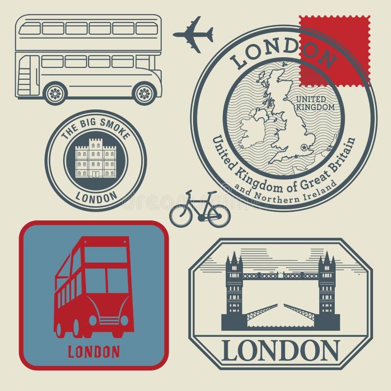 Timbres de voyage réglés, Londres illustration stock