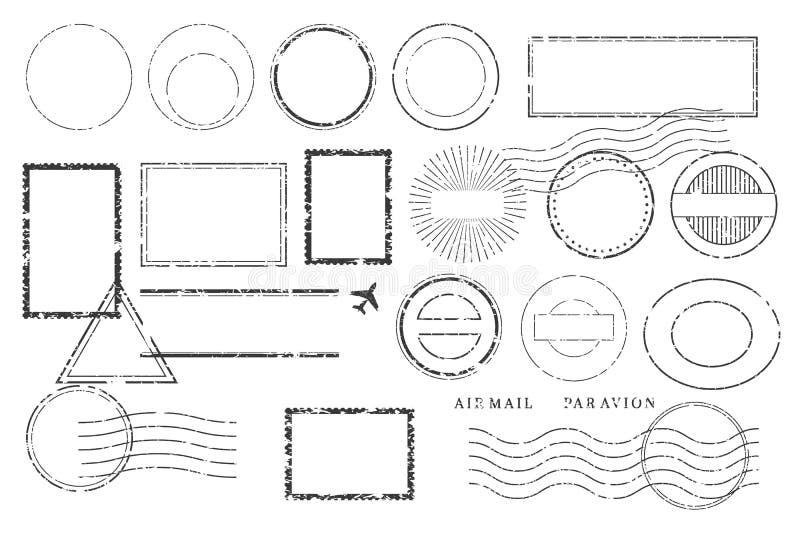 Timbres et marques de carte postale illustration stock
