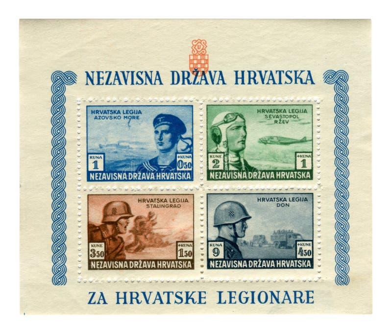 Timbres historiques croates : lib?ration ? l'appui des l?gions croates 1943, troupes Pro-allemandes Aviation, marine, infanterie, photographie stock libre de droits
