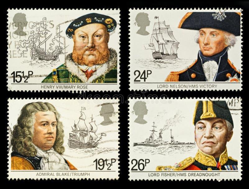 Timbres-poste navals d'histoire de la Grande-Bretagne photo libre de droits
