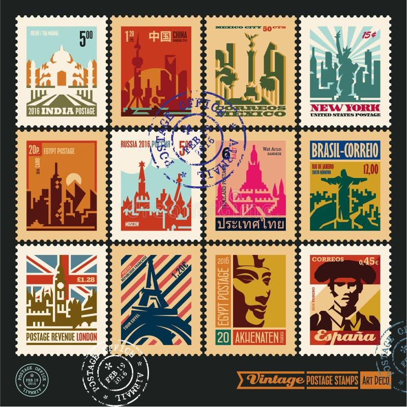 Timbres-poste, villes du monde, labels de voyage de vintage et insignes réglés illustration de vecteur