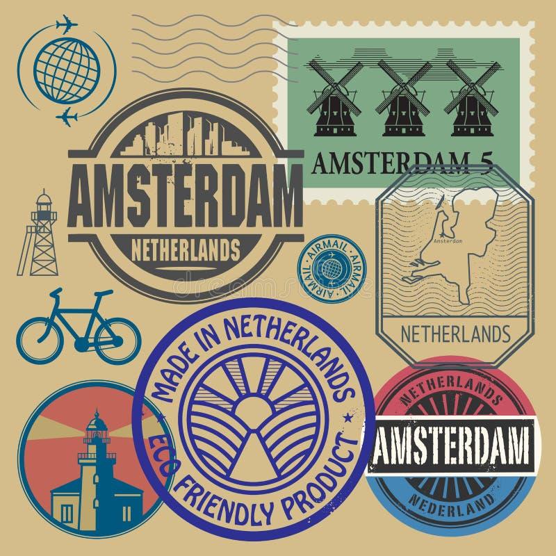 Timbres réglés avec des mots Pays-Bas, Amsterdam illustration libre de droits