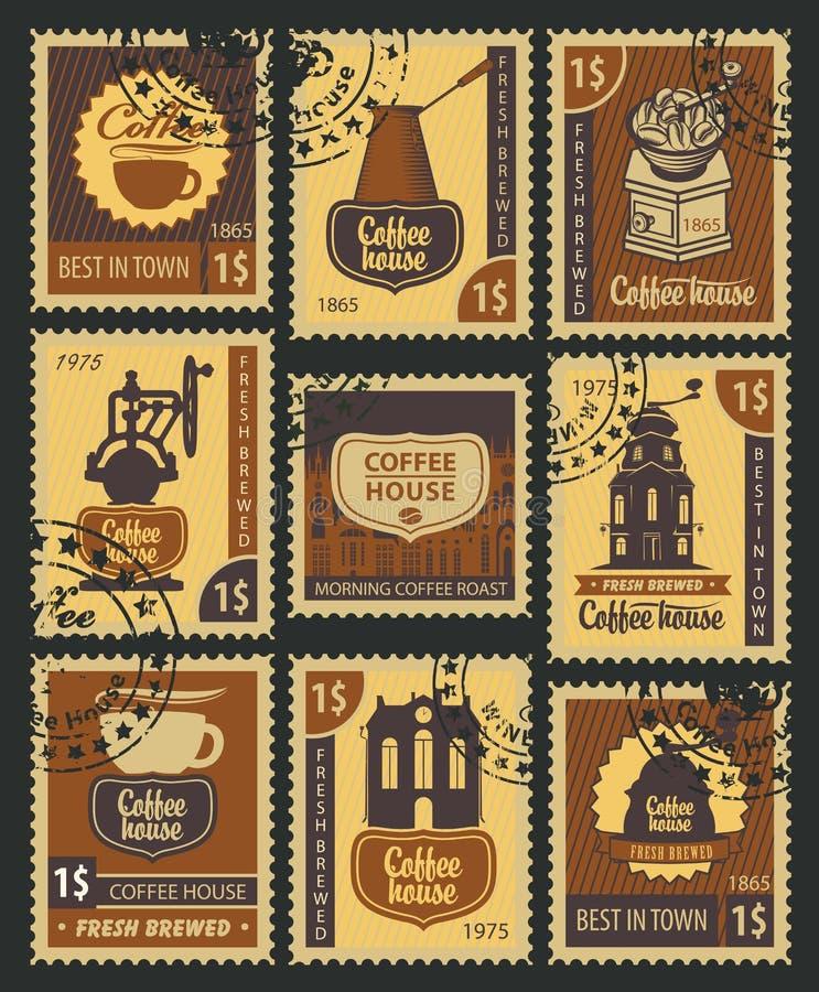 Timbres sur le café illustration stock