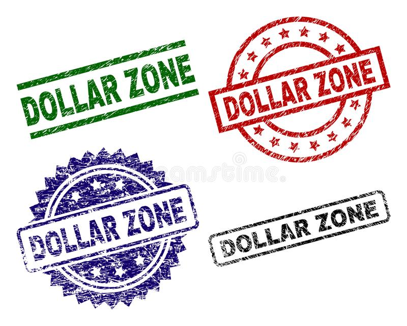 Timbres texturisés grunges de joint de ZONE DOLLAR illustration libre de droits