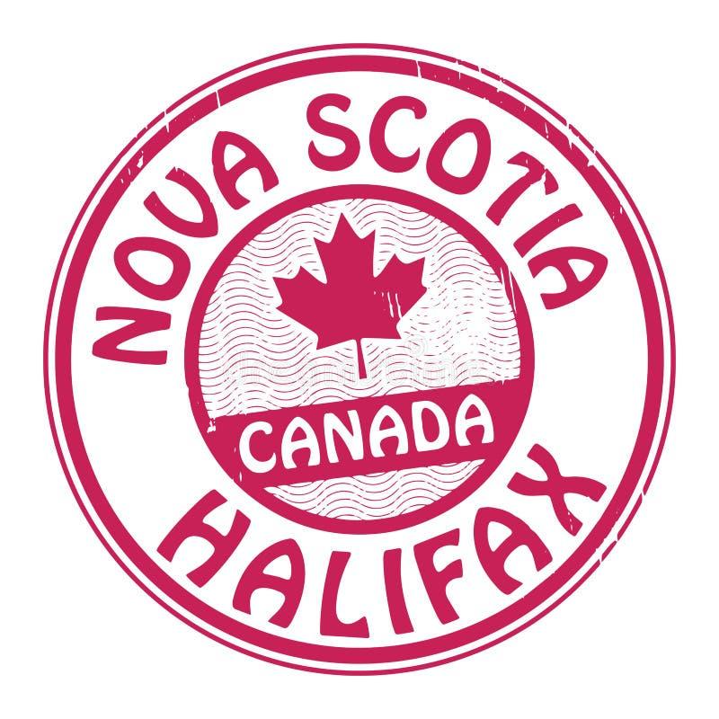 Timbri con il nome del Canada, di Nova Scotia e di Halifax illustrazione di stock
