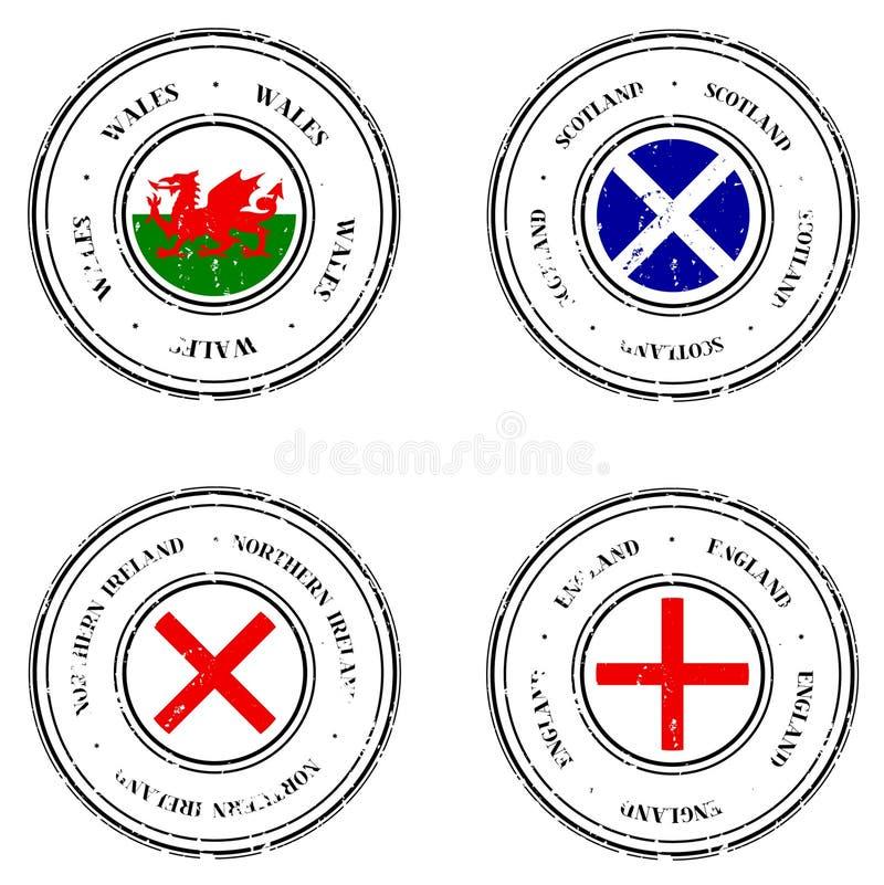 Timbri di gomma del Regno Unito Grunge illustrazione di stock