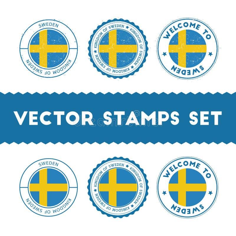 Timbri di gomma della bandiera dello svedese messi illustrazione vettoriale