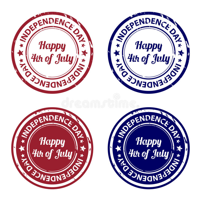 Timbri di gomma di festa dell'indipendenza illustrazione vettoriale