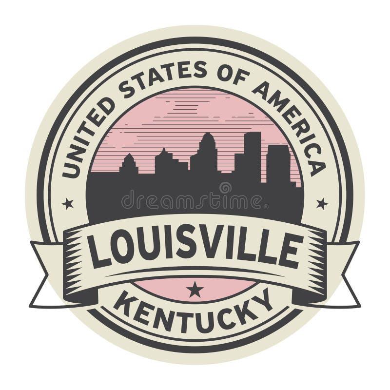 Timbri o etichetta con il nome di Louisville, Kentucky illustrazione vettoriale