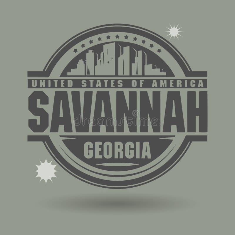 Timbri o etichetta con la savana del testo, la Georgia dentro illustrazione vettoriale