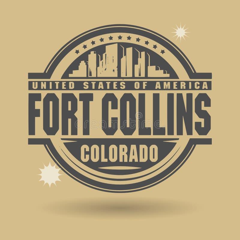 Timbri o etichetta con testo Fort Collins, Colorado dentro illustrazione vettoriale