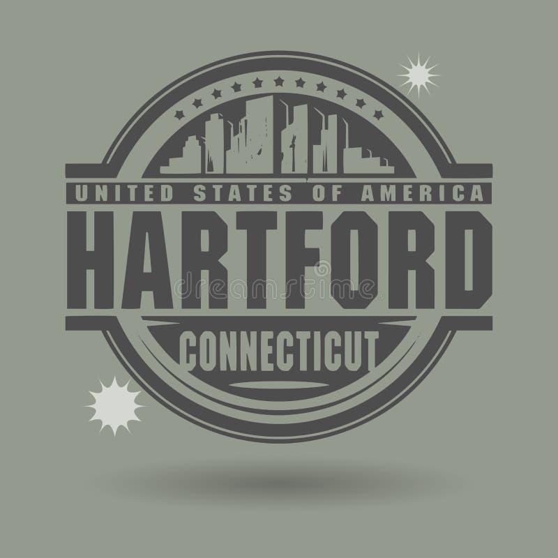 Timbri o etichetta con testo Hartford, Connecticut dentro illustrazione vettoriale
