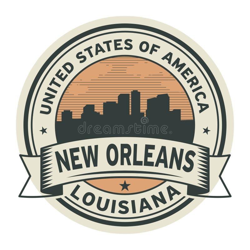 Timbri o identifichi con il nome di New Orleans Luisiana illustrazione vettoriale