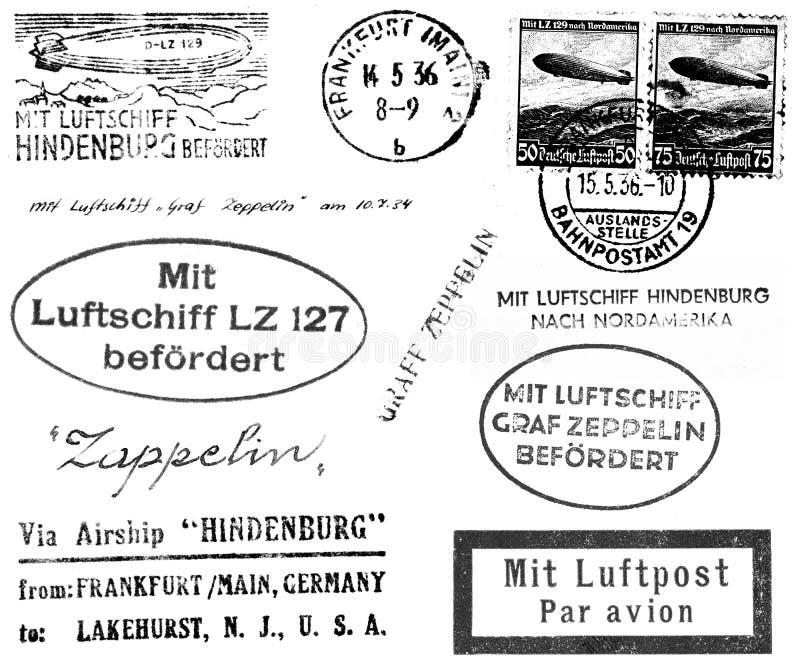 Timbri postali relativi dello Zeppelin illustrazione di stock