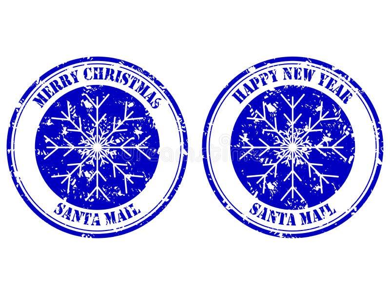 Timbro di gomma, buon anno e Buon Natale della posta di Santa illustrazione di stock