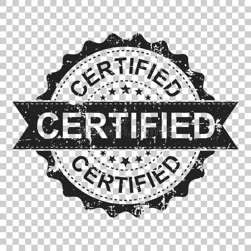 Timbro di gomma certificato di lerciume del graffio L'illustrazione di vettore sopra è illustrazione di stock