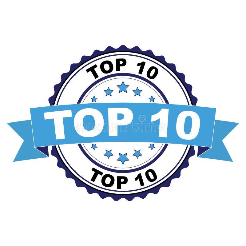 Timbro di gomma con il concetto del principale 10 illustrazione di stock