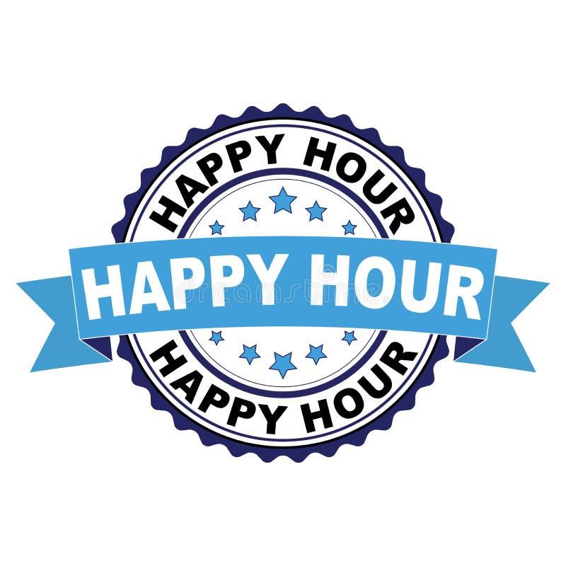 Timbro di gomma con il concetto di happy hour illustrazione di stock
