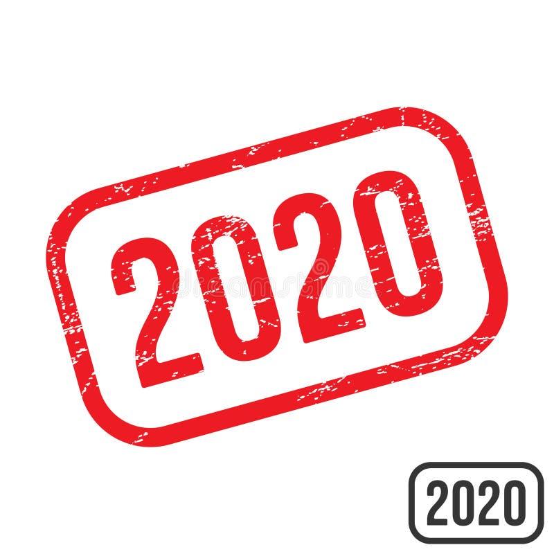 timbro di gomma 2020 con progettazione di vettore di struttura di lerciume royalty illustrazione gratis