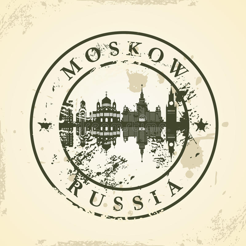 Timbro di gomma di lerciume con Mosca, Russia illustrazione vettoriale
