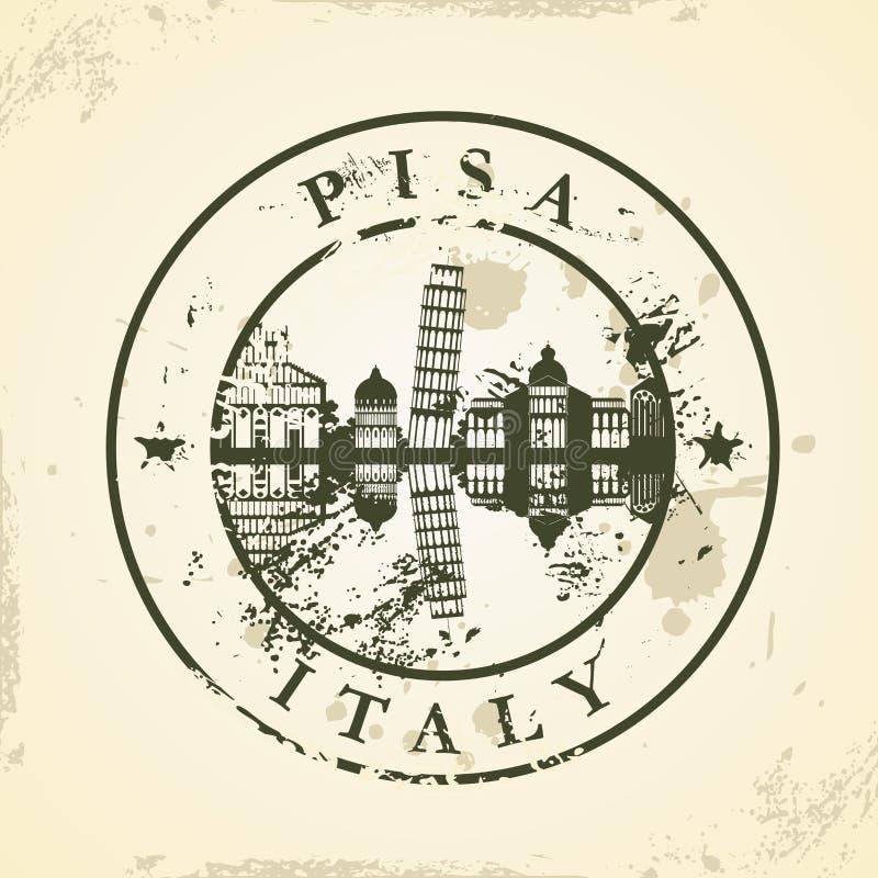 Timbro di gomma di lerciume con Pisa, Italia illustrazione vettoriale
