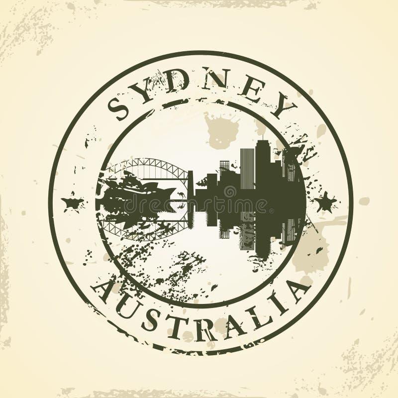 Timbro di gomma di lerciume con Sydney, Australia illustrazione di stock