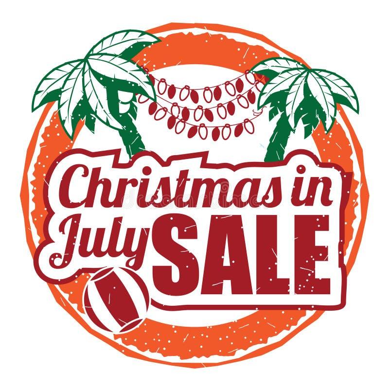 Timbro di gomma di lerciume di Natale a luglio su fondo bianco illustrazione vettoriale