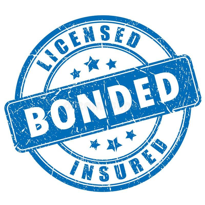 Timbro di gomma legato conceduto una licenza a degli Assicurati illustrazione vettoriale