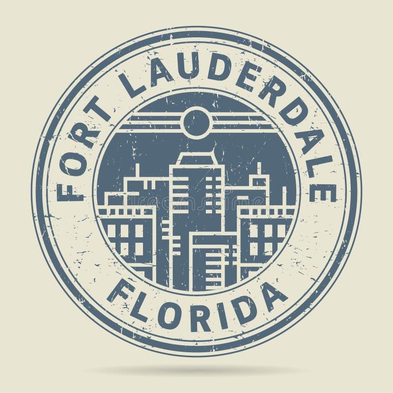 Timbro di gomma di lerciume o etichetta con il Fort Lauderdale del testo, Florida royalty illustrazione gratis