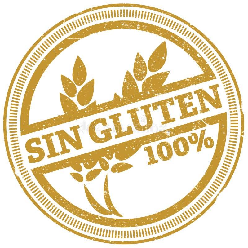 Timbro di gomma libero 100% del glutine dorato di lerciume con il GLUTINE spagnolo di parole PECCATO illustrazione vettoriale