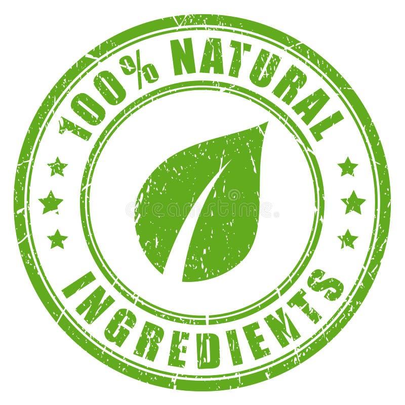 Timbro di gomma naturale degli ingredienti illustrazione di stock