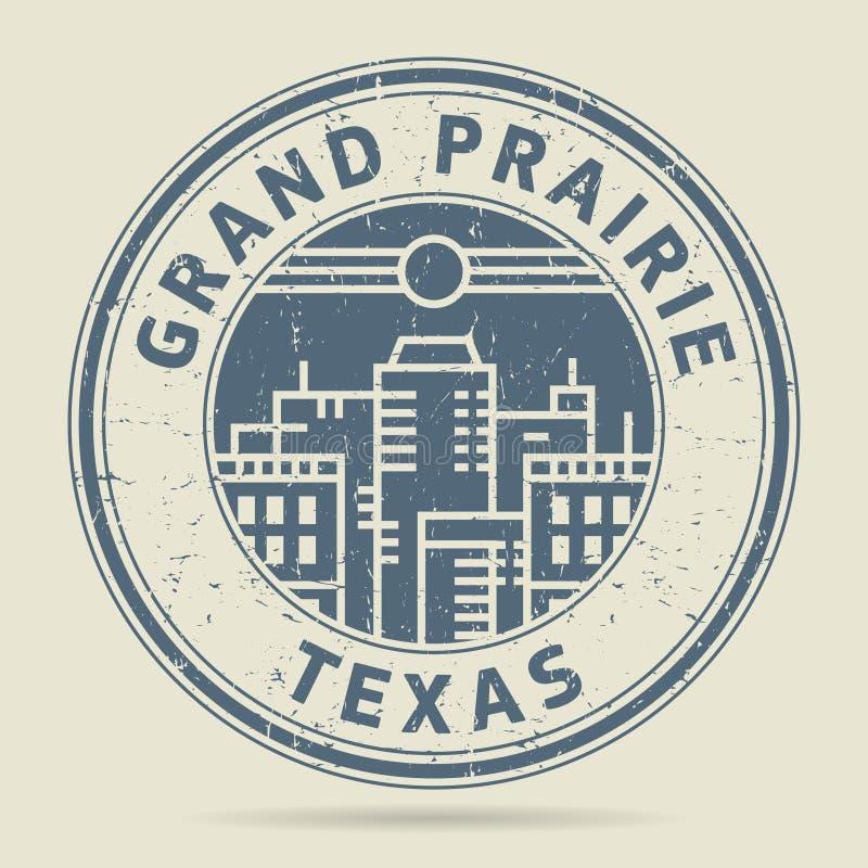 Timbro di gomma o etichetta di lerciume con la grande prateria del testo, il Texas illustrazione vettoriale