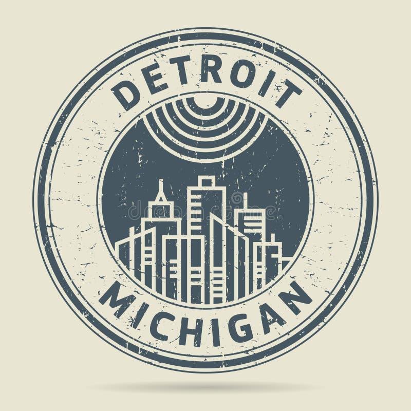 Timbro di gomma o etichetta di lerciume con testo Detroit, Michigan illustrazione di stock